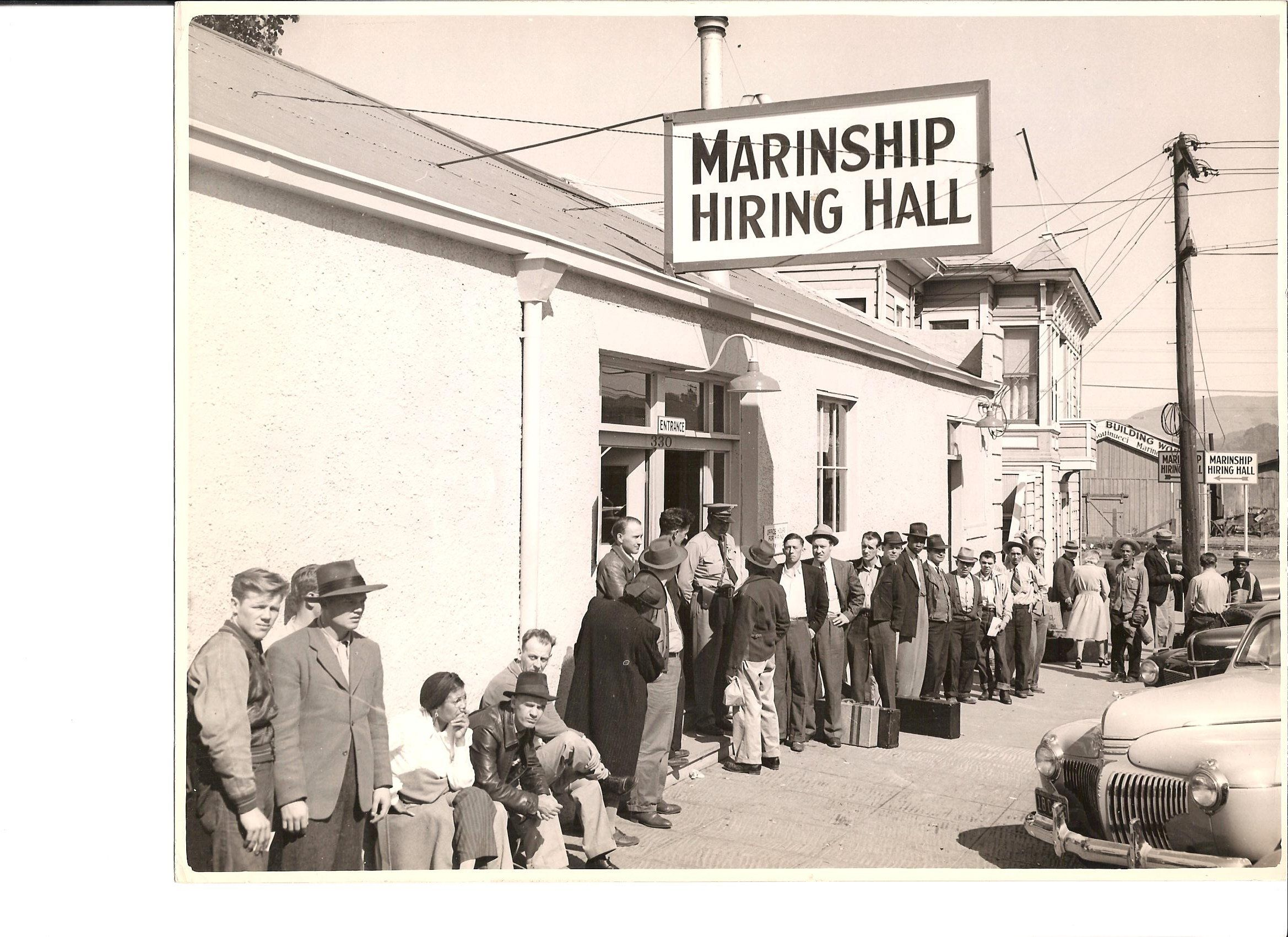 A diverse group of applicants lines up outside the Marinship Hiring Hall on Caledonia Street (now the site of Driver's Market). Photo courtesy of Sausalito Historical Society