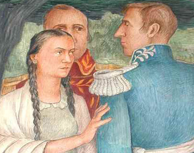 Concepcion Arguello and Nikolai Rezanov as depicted on a mural in the Presidio Interfaith Chapel.