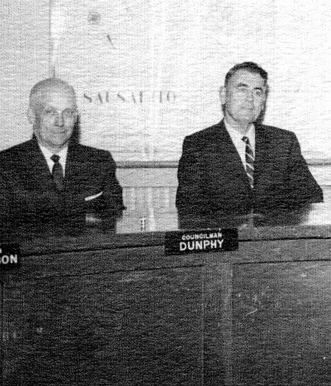 George Gabrielson (l.) with fellow City Councilman and park enthusiast Earl Dunphy. Photo courtesy of Sausalito Historical Society.