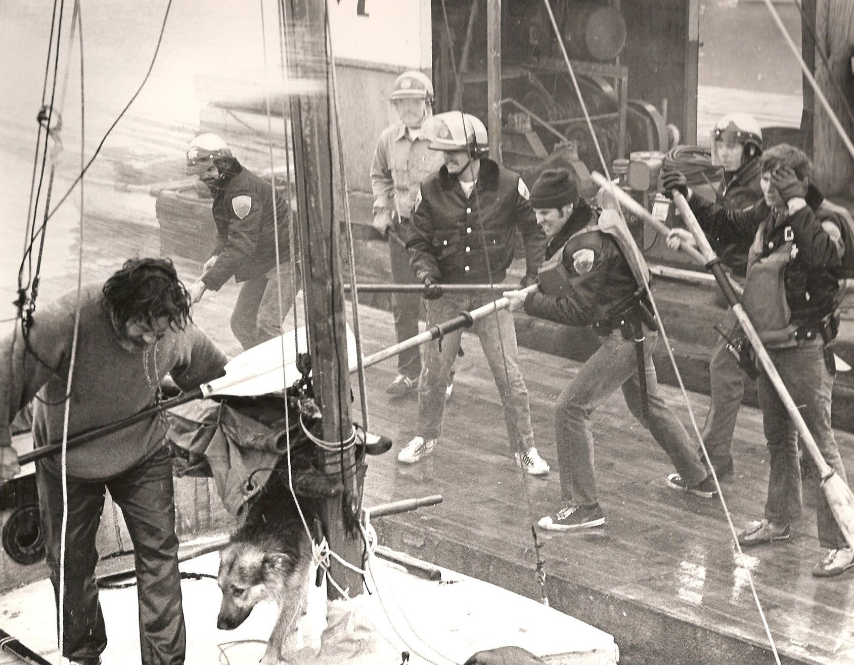 A sailboat became the focus of a push-pull with sheriff's officers during an attempt to block the construction of Liberty Dock at Waldo Point Harbor. Photo © Bruce Forrester