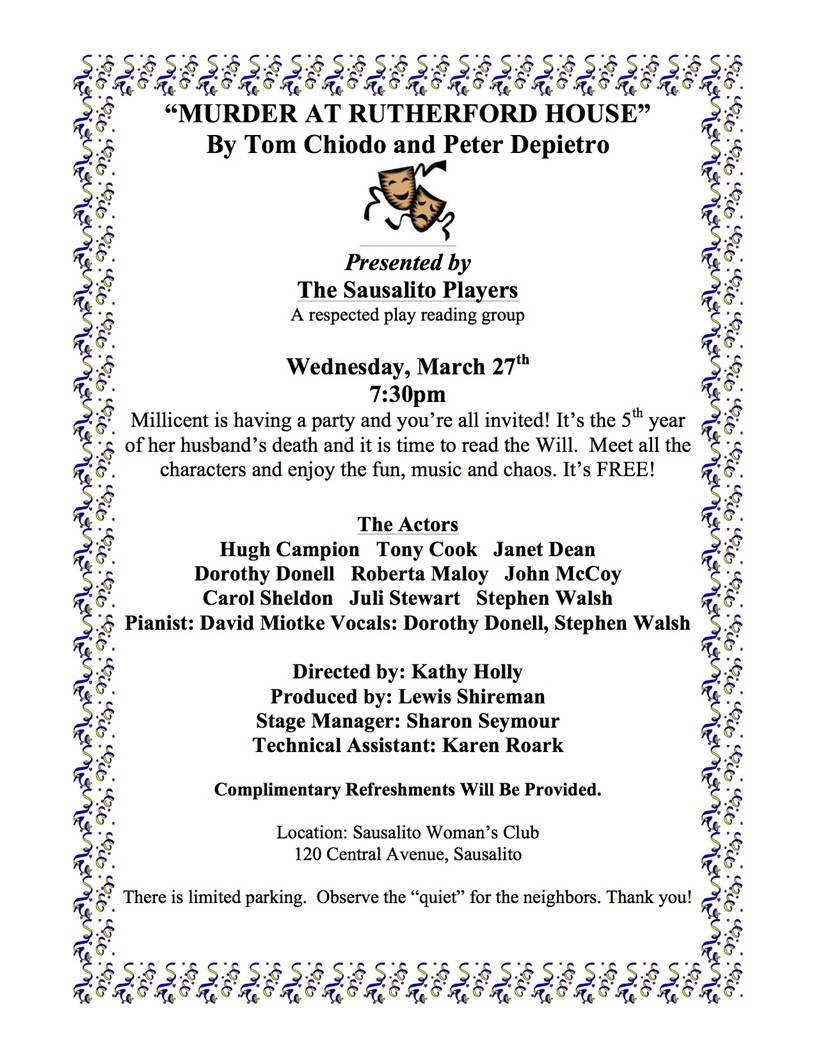 Many of the performers listed on this early playbill are still active in the Sausalito Players.