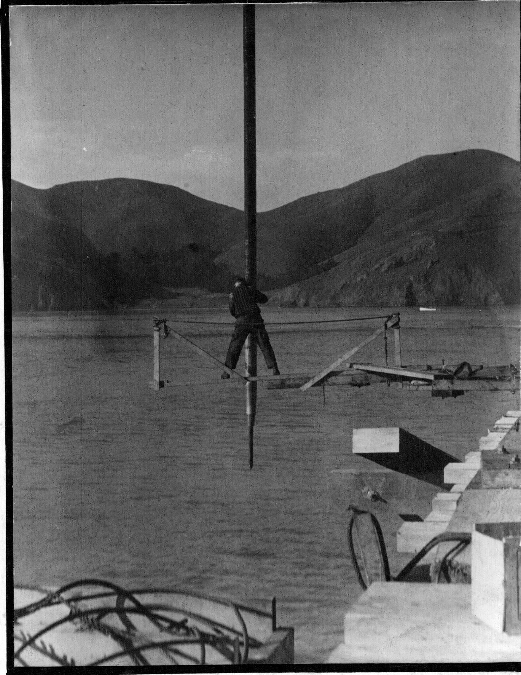 Workers like Frenchy Gales lived dangerously on and off the Bridge.  Photo by Dulce Duncan  Courtesy of Sausalito Historical Society