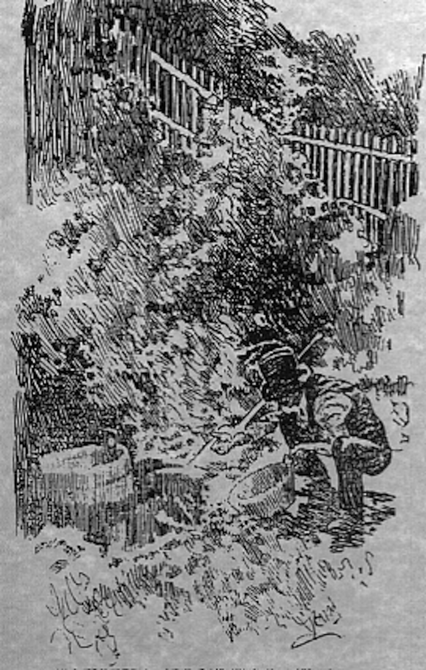 """House of the Bay-Window,"" the residence of Sergeant Jack Hayes, who claimed to have discovered gold in the gulch just to the left of the tank.  San Francisco Call woodcut courtesy of Sausalito Historical Society"