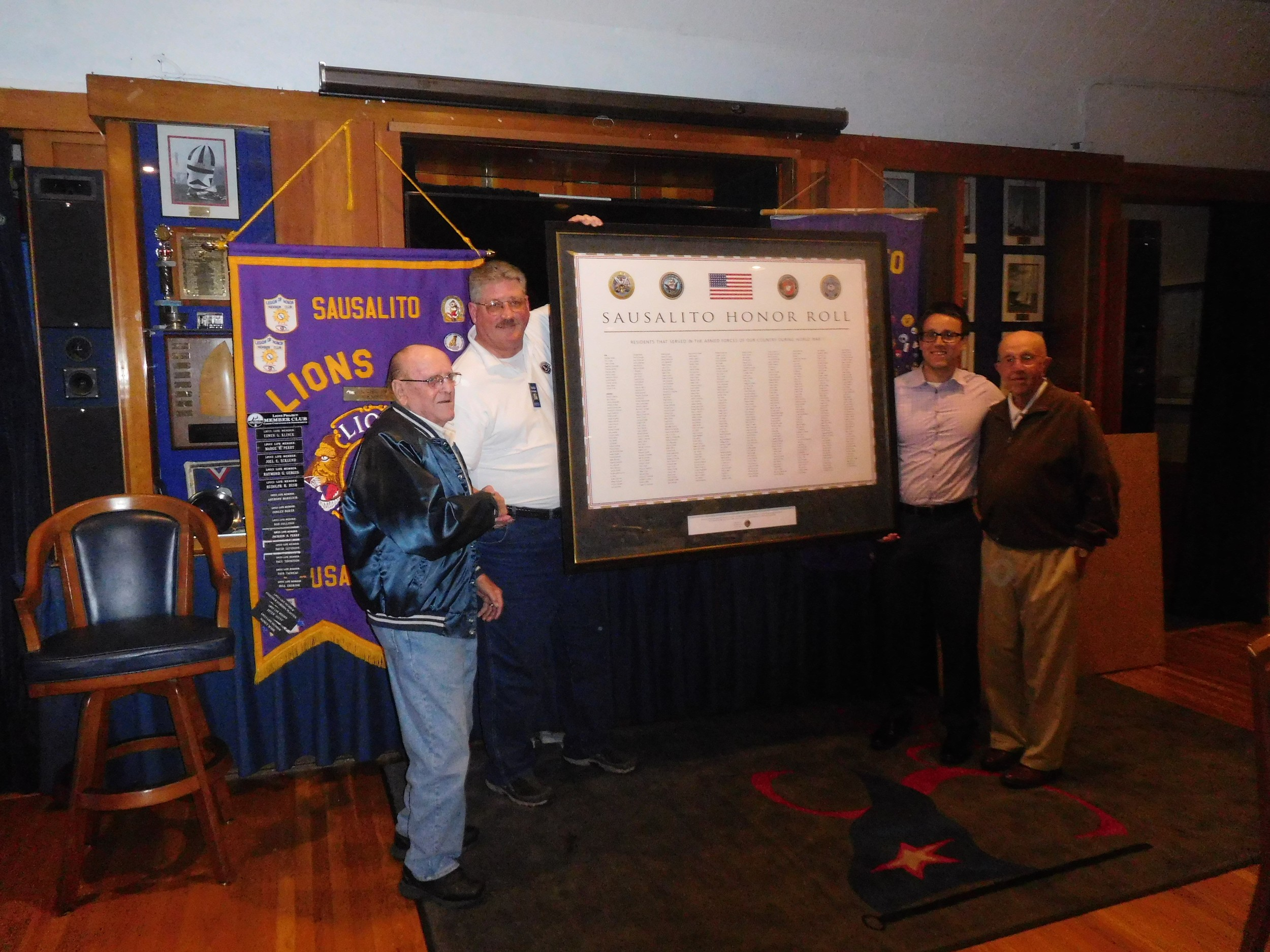 Left to right: Ed Madsen with Sausalito Lions Richard Carnal, Richard Davey, C.D. Madsen. Photo by Jerry Taylor