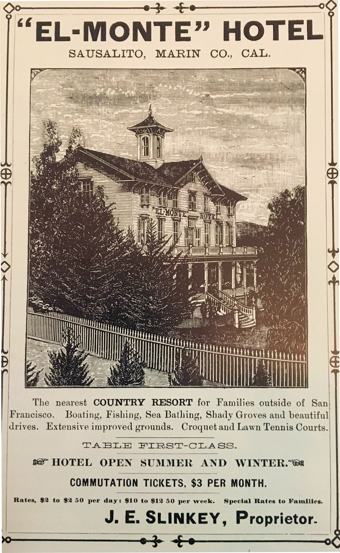 """Ad for El Monte Hotel, """"the nearest COUNTRY RESORT for families outside of San Francisco."""" Courtesy of Sausalito Historical Society"""