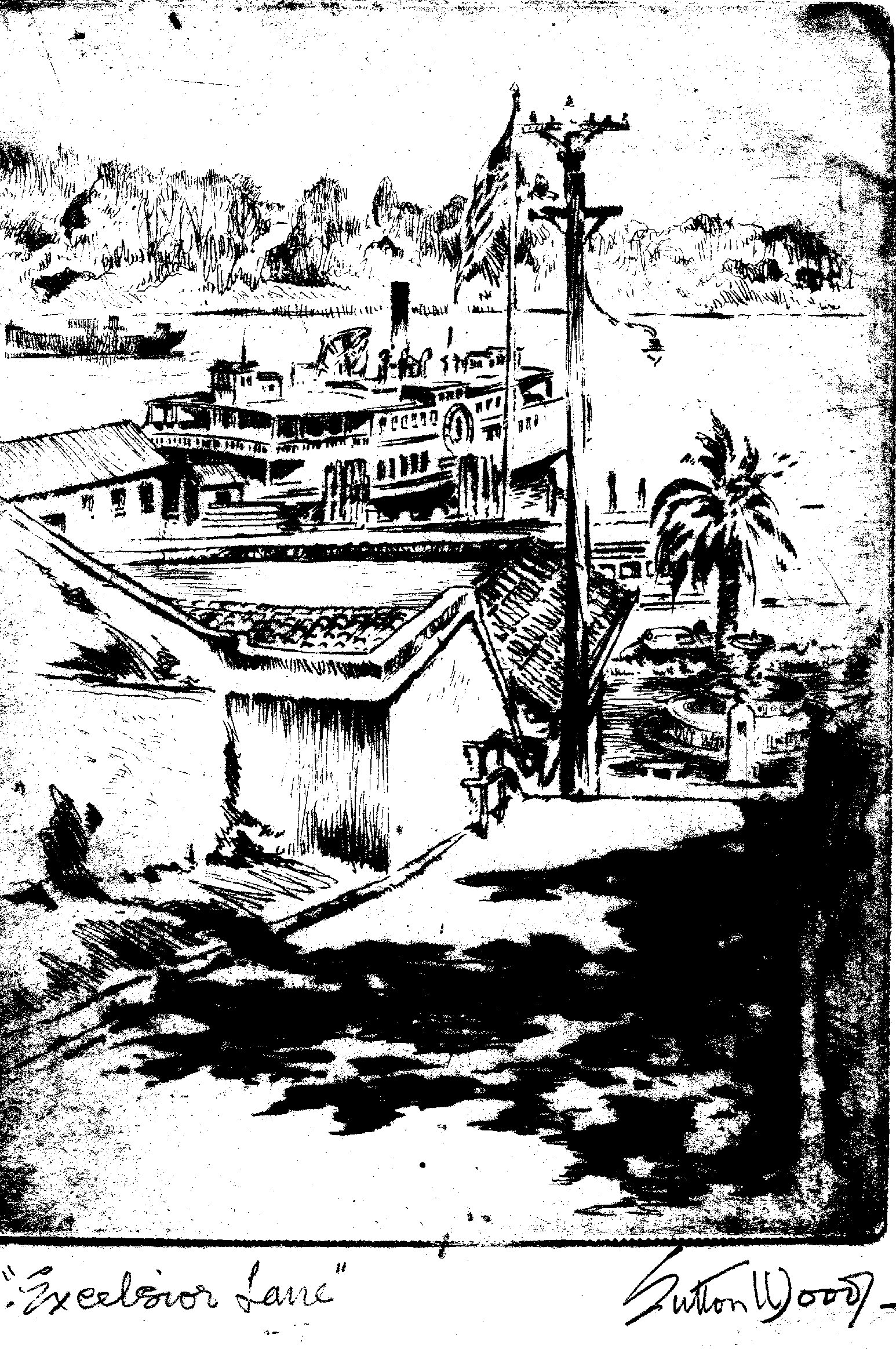 Pen-and-ink illustration of Excelsior Lane by Leonard Sutton Wood, who died in Sausalito in 1970. Courtesy of Sausalito Historical Society