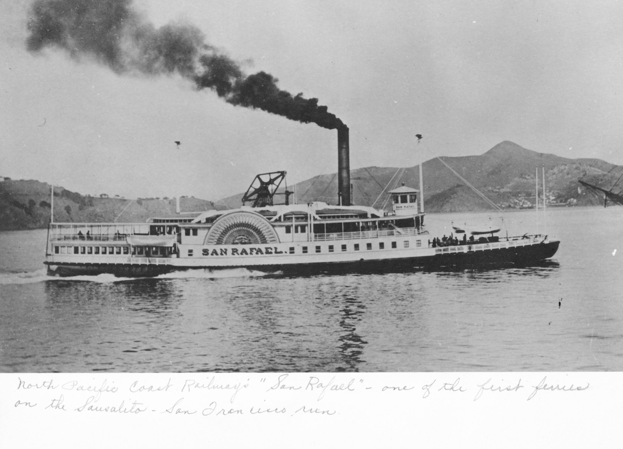The Ferry San Rafael, which was rammed and sunk in another heavy fog just eight years after Fred Sandrock's account.  Photo courtesy of Sausalito Historical Society.