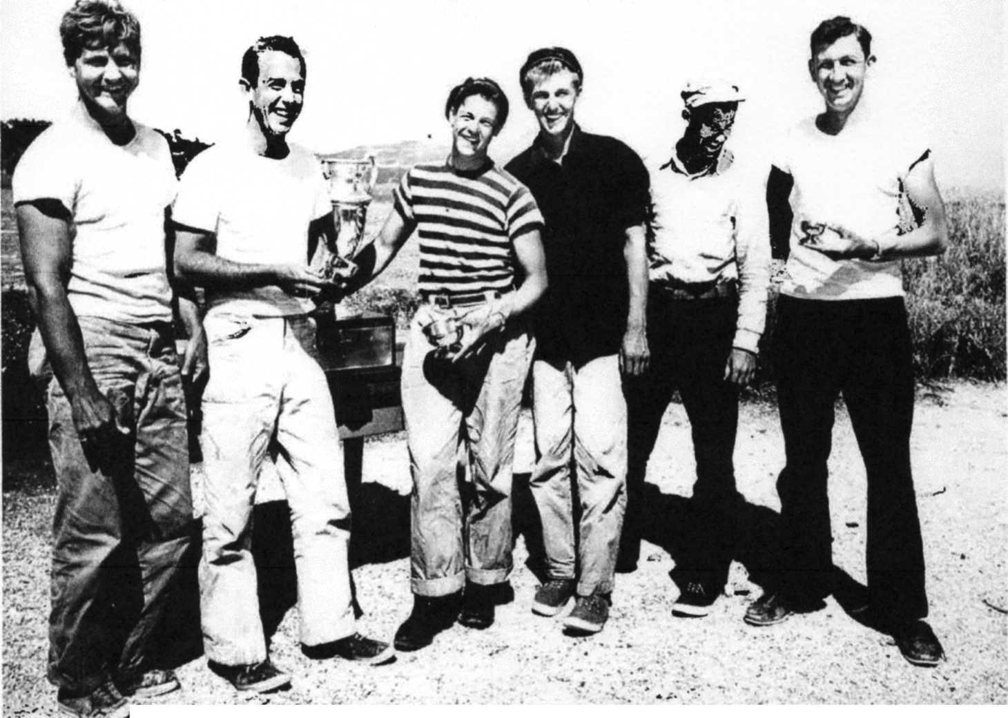Bill Whitaker, John Hooper (founder), Henry Mettier, Henry Easom, Rob Hobart, Jim Enzensperger (founder) in late 1940s.      Photo courtesy of Sausalito Yacht Club