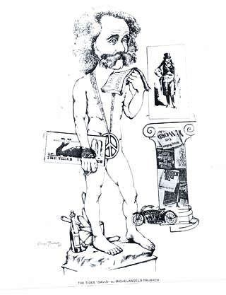 """Artist Serge Trubach was the semiofficial chronicler of places, personalities and events around town in the 1960s and '70s. This is how he saw the Tides and its clientele in their role as Sausalito's counterculture of that era. He called his drawing """"The Tides' David by Michelangelo Trubach.""""  Courtesy of the Sausalito Historical Society"""