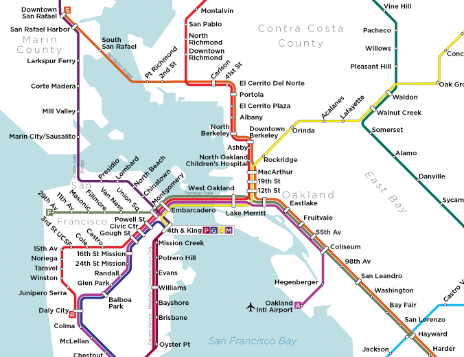 1956 BART Masterplan with stations in Marin