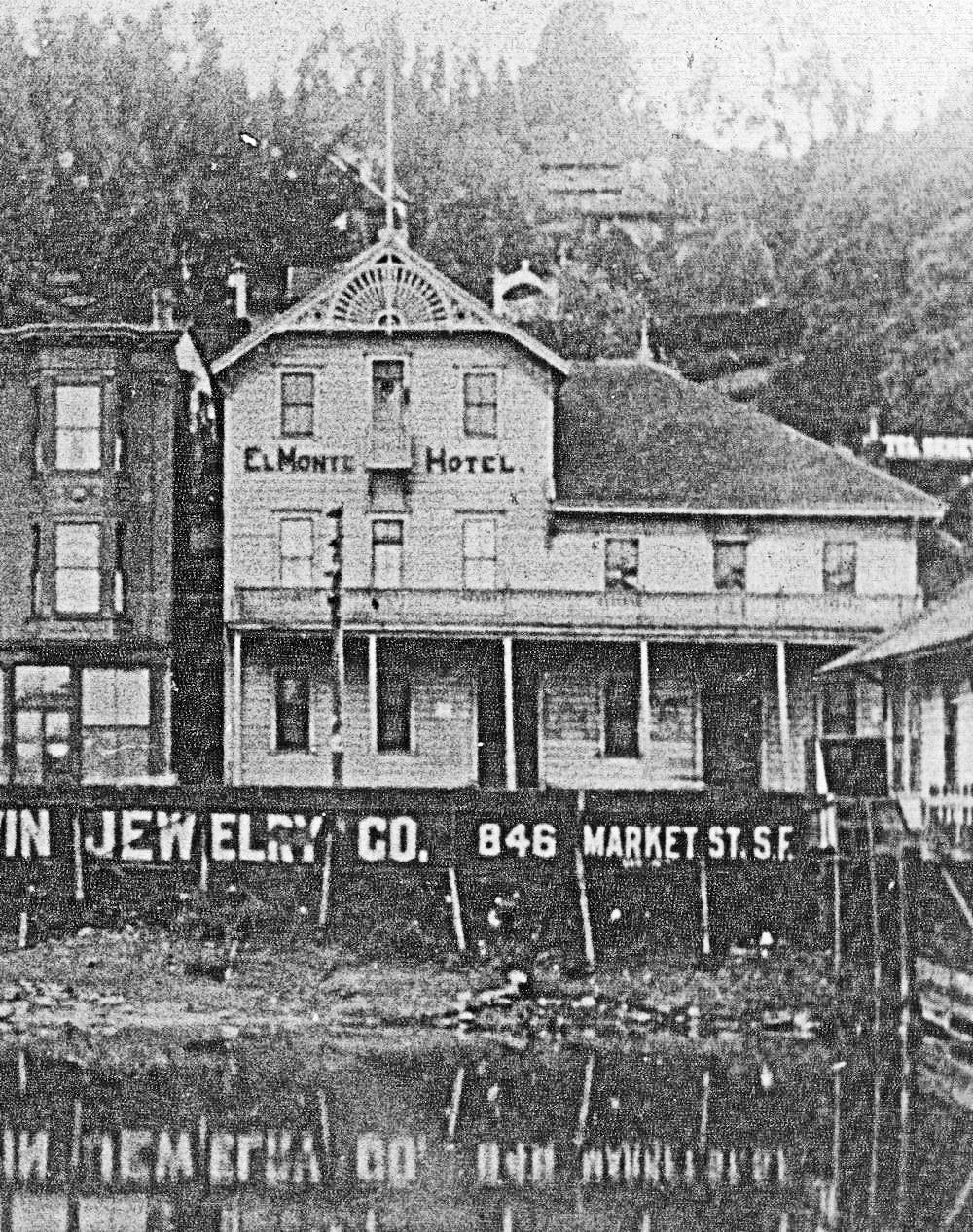 The El Monte Hotel a few years after the fire of 1893. Photo courtesy of Sausalito Historical Society