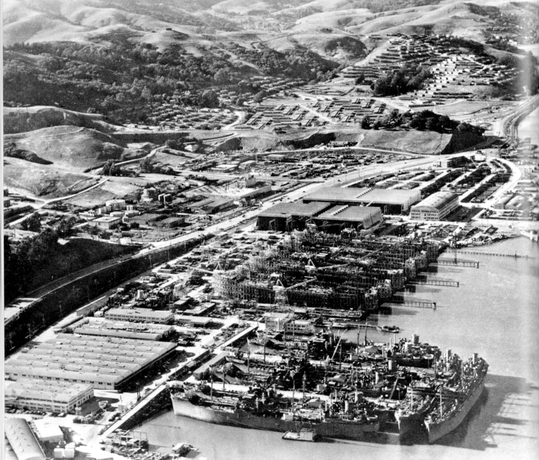 PHOTO COURTESY OF SAUSALITO HISTORICAL SOCIETY  This photograph, donated to the Historical Society by Steve Bechtel, shows the shipyard in full production. Bechtel proudly displayed the image in his office for many years.