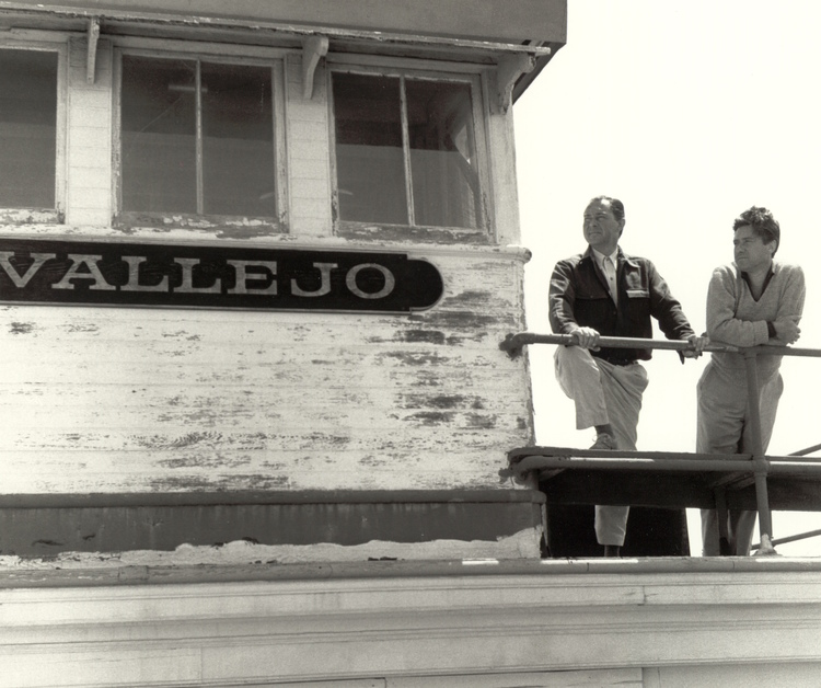 PHOTO FROM WEINSTEIN GALLERY CATALOG  Gordon Onslow Ford (left) and Chilean artist Roberto Matta (right) on the Vallejo in 1956.