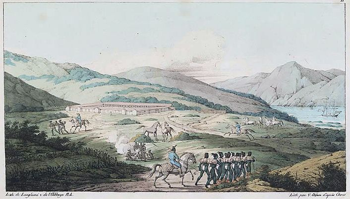 ILLUSTRATION FROM WIKIPEDIA  View of Presidio of San Francisco circa 1817 by Louis Choris