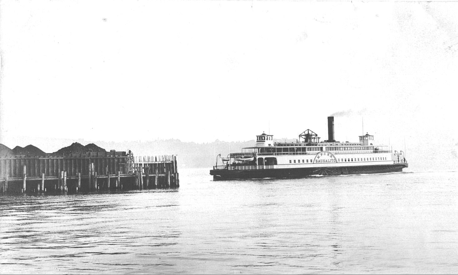 PHOTO COURTESY OF SAUSALITO HISTORICAL SOCIETY  The ferry Sausalito approaches its home port