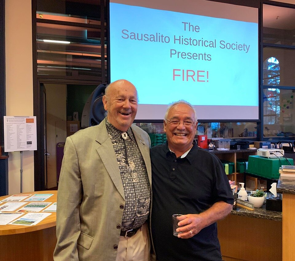 Bob Sousa and former Sausalito Fire Chief Steve Bogel. Photo by Mike Moyle