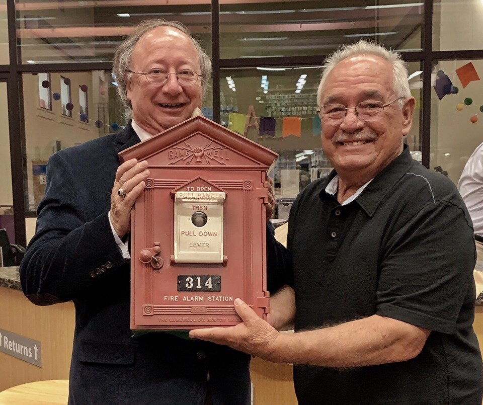 Sausalito Historical Society President Jerry Taylor accepts Box #314 from retired Fireman Bob Sousa  Photo Mike Moyle