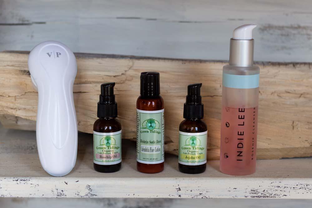 vanity planet skins brush, green tidings reship oil, green tidings calendula face lotion, indie lee rosehip face wash