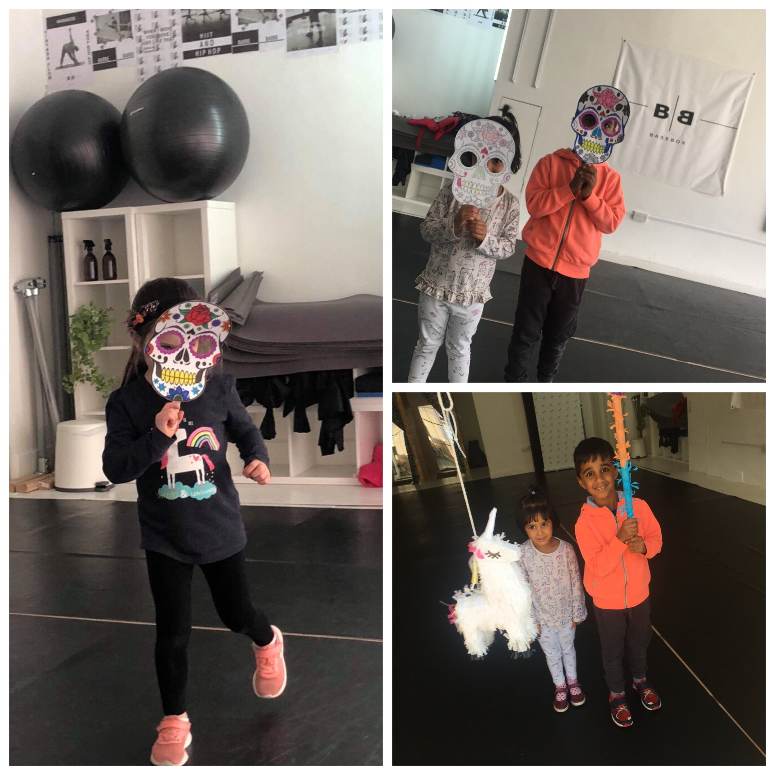 October Half Term 2018: Coco Workshop - In the run up to halloween we put on a Mexican 'Day of the Dead' special workshop, with dances to the soundtrack of the Disney film Coco, mask making, and we even had a pinata!
