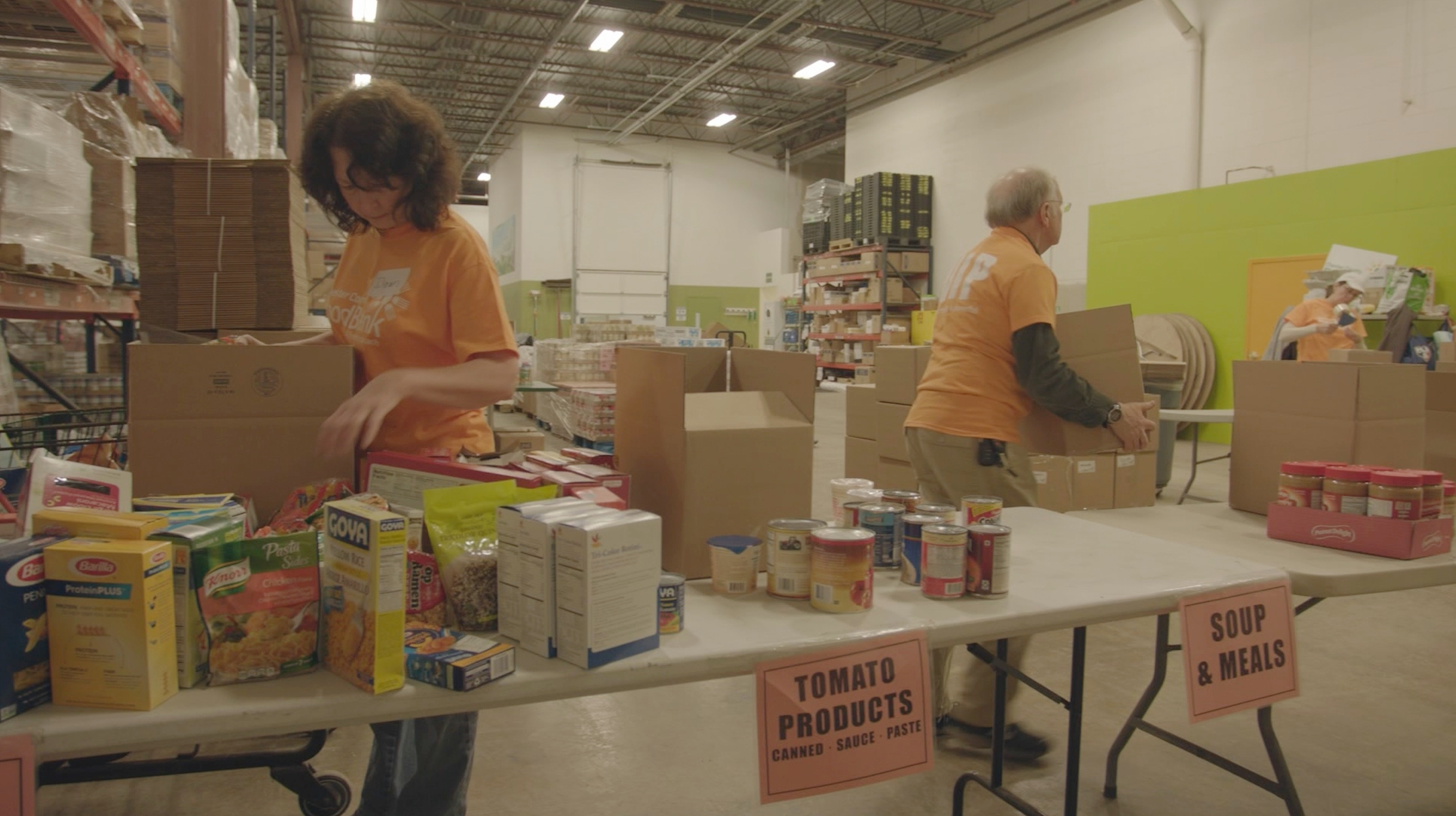volunteers at chester county food bank warehouse