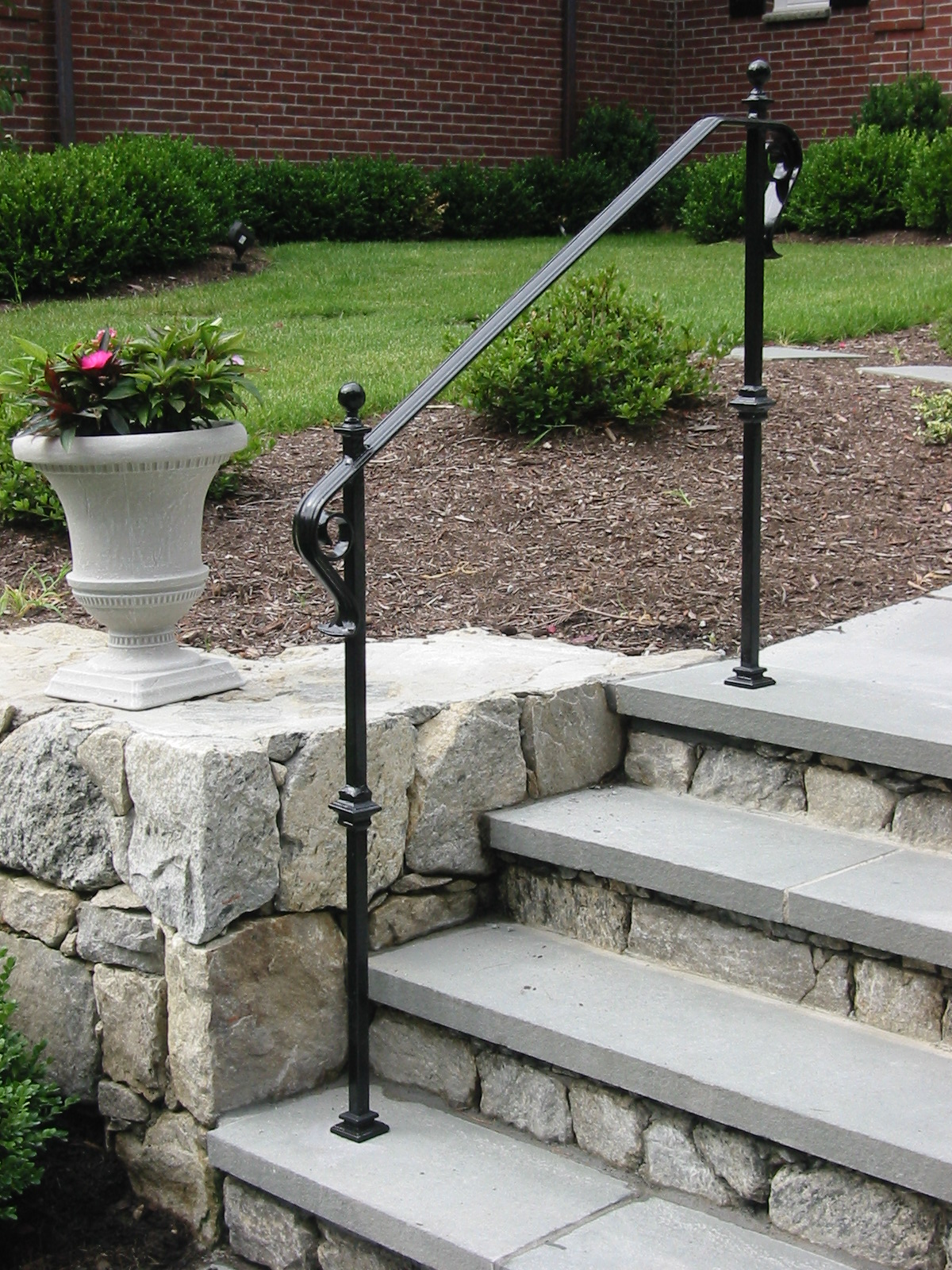 Picket-Less Railings with Baluster Collars, Cover Shoes, Finial Balls & Scrolled Lamb's Tongue