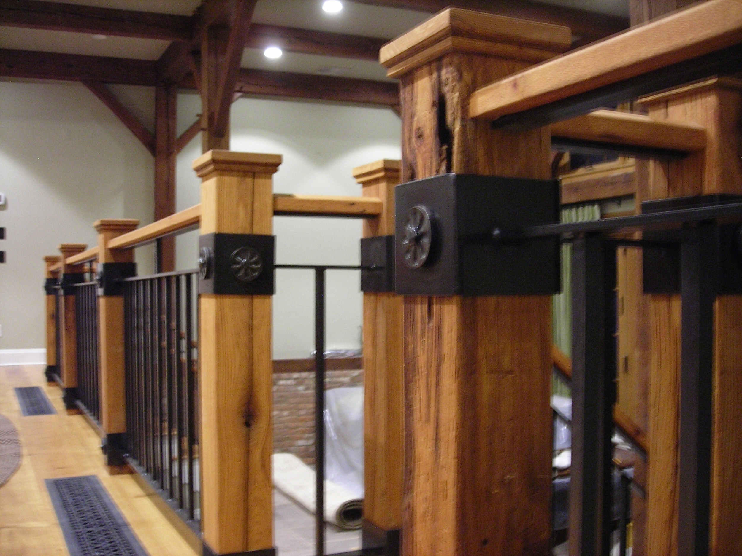 Steel & Wood Interior Rail with Forged Elements