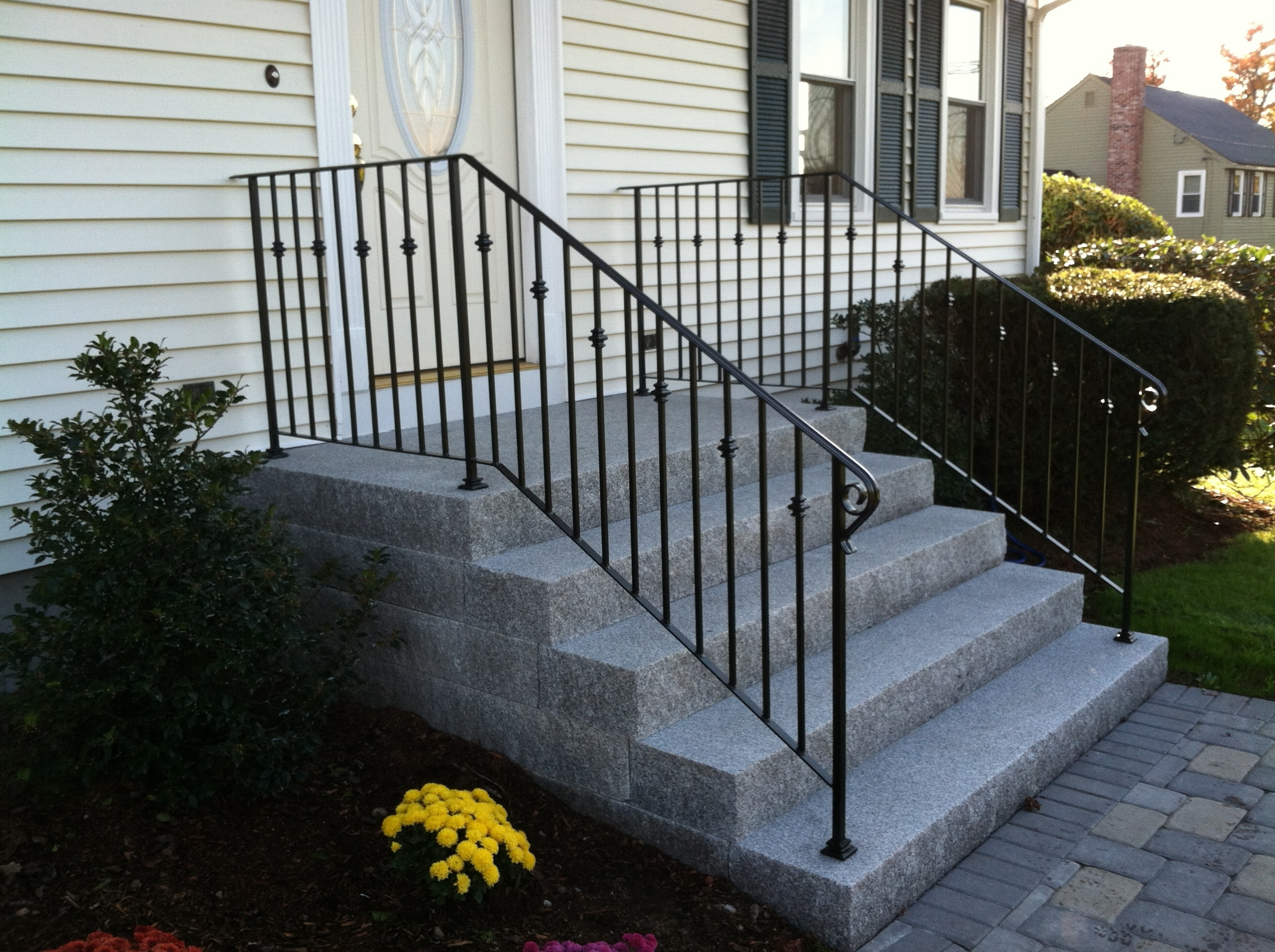 Railings with Cast Iron Collars, Shoes and Scrolled Lamb's Tongue