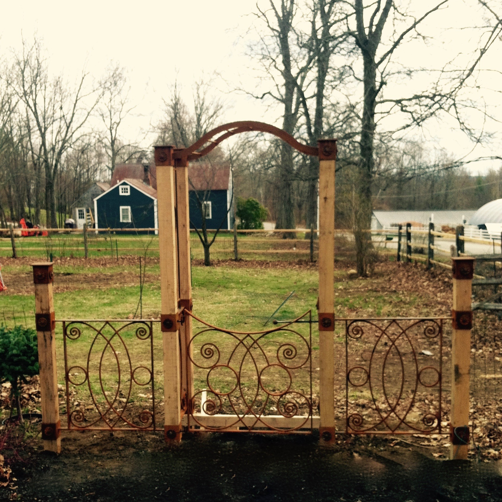 Arbor, Gate & Fencing with Black Walnut Posts