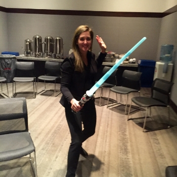 (Working on my light saber skills just before the talk....)