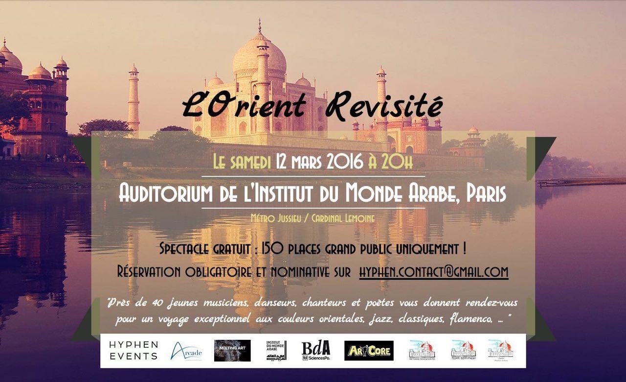 """Festival artistique """"L'Orient revisité """"en partenariat avec l'Institut du Monde Arabe, le 12 mars 2016."""