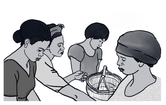This illustration was created for an education project in Eastern Africa linking home-based workers and small producers and workers coops with access to Fair Trade markets. The series of training manuals was published by WIEGO (Women in Informal Employment Globalizing and Organizing). (5/7)