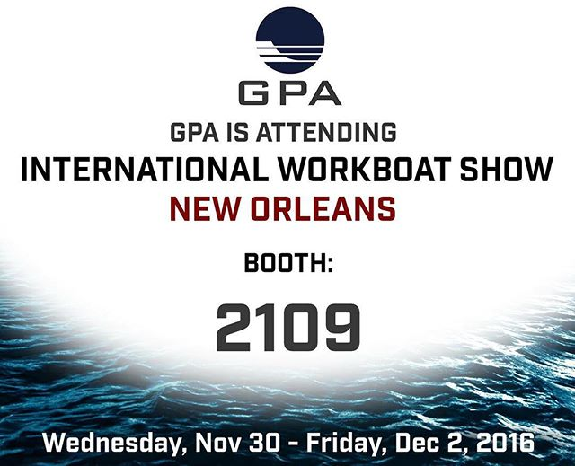 GPA is attending International WorkBoat Show 2016. Stop by booth 2109! #navalarchitecture #marine #marineengineer #marineengineering #internationalworkboatshow