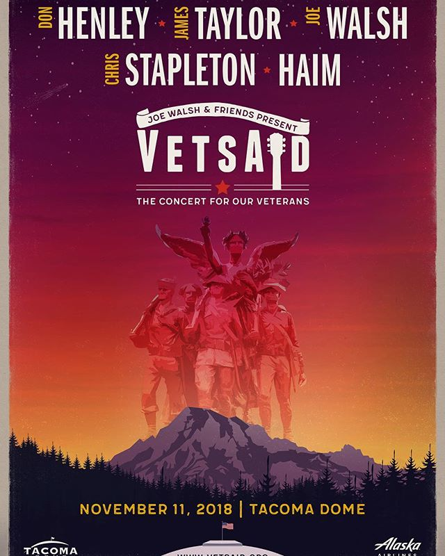 Grateful to be here @vetsaidofficial concert at the #tacomadome - excited to see the artists, esp #joewalsh and the video we produced for the intro of the show. Big thanks to my creative team @ewenku & @ryanfeerer for their motion gfx and graphic design work on it. And  @dustinmreid for being Dustin Reid and to Brian @schillingfilm for great job filming #senatorduckworth in Chicago for us. Thanks to Jackie @preciousbeast for her help and her beautiful designs (the poster) and of course to Christian @cursedandblessed for making the whole show come together- it is a massive production. My father and all my uncles were veterans; thankfully they all came out of their military service alive & healthy. My cousin Colin Mulhaul served multiple tours in Iraq. He was trying to adjust to civilian life when he committed suicide in 2016. He was a fun and funny kid, who we all loved. He grew up quickly when he joined up. VetsAid will donate money to a bunch Of worthy charities including #StopSoldierSuicide. I'm grateful to be able to play a small part in this incredible show. #vetsaid2018 #VetsAid #godblessamerica