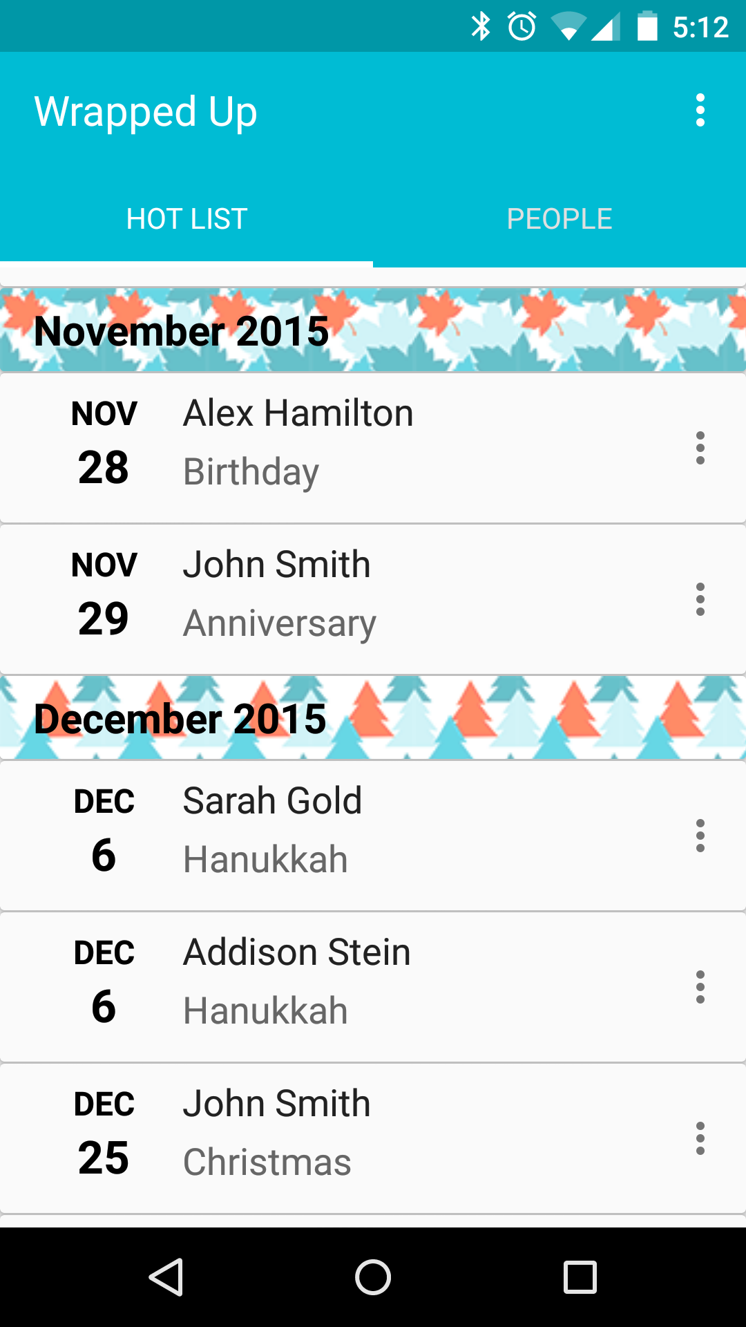 The Hot List with upcoming event dates and the people who are celebrating on those dates.