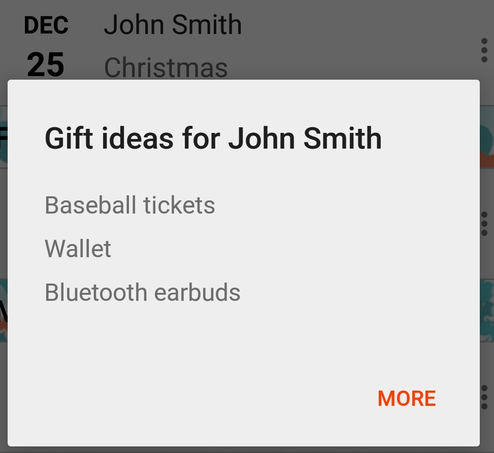 Gift ideas pop up. Reached when pressing on a name in the Hot List.
