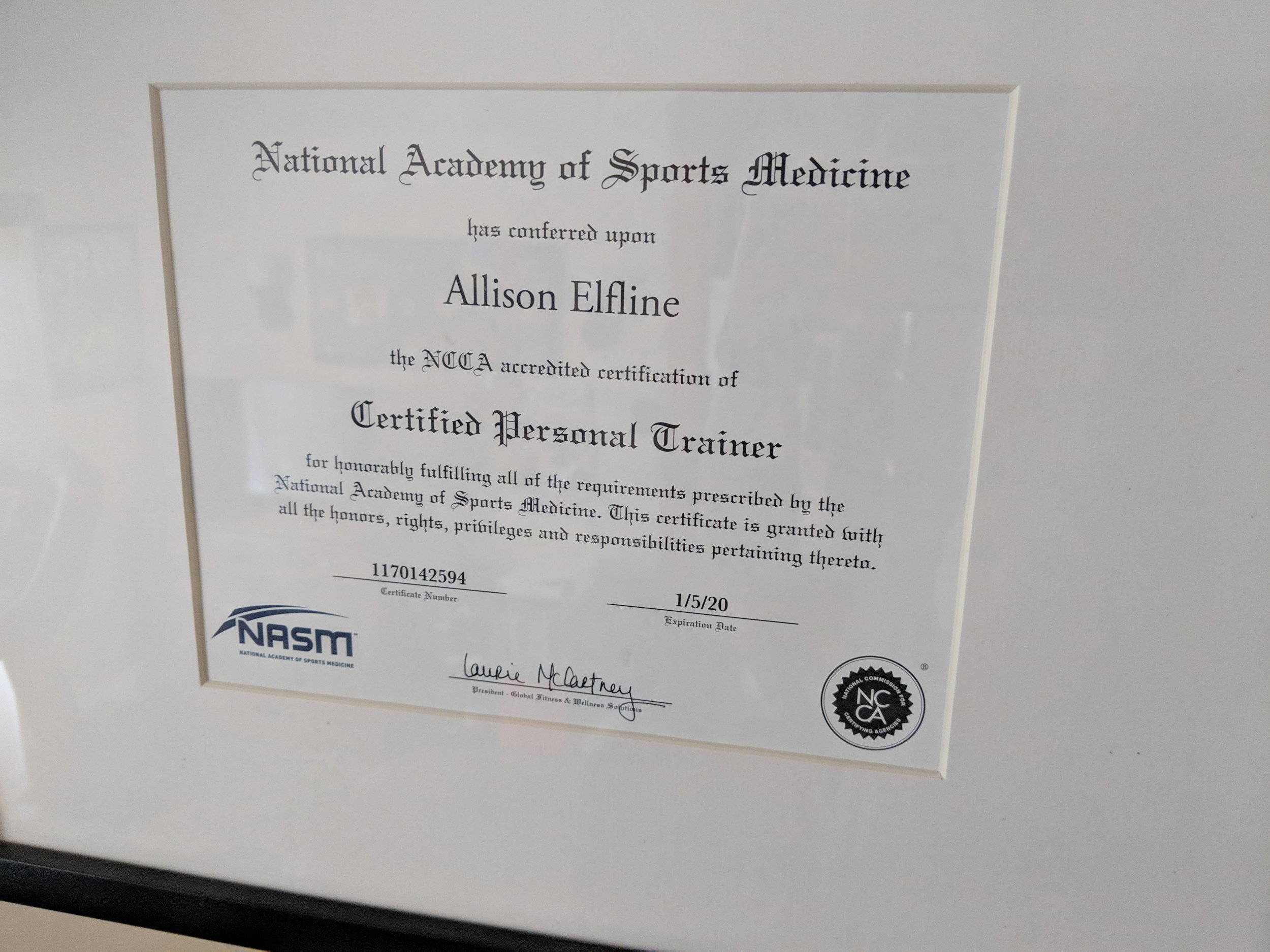 Ally is a proud certified personal trainer of the National Academy of Sports Medicine.