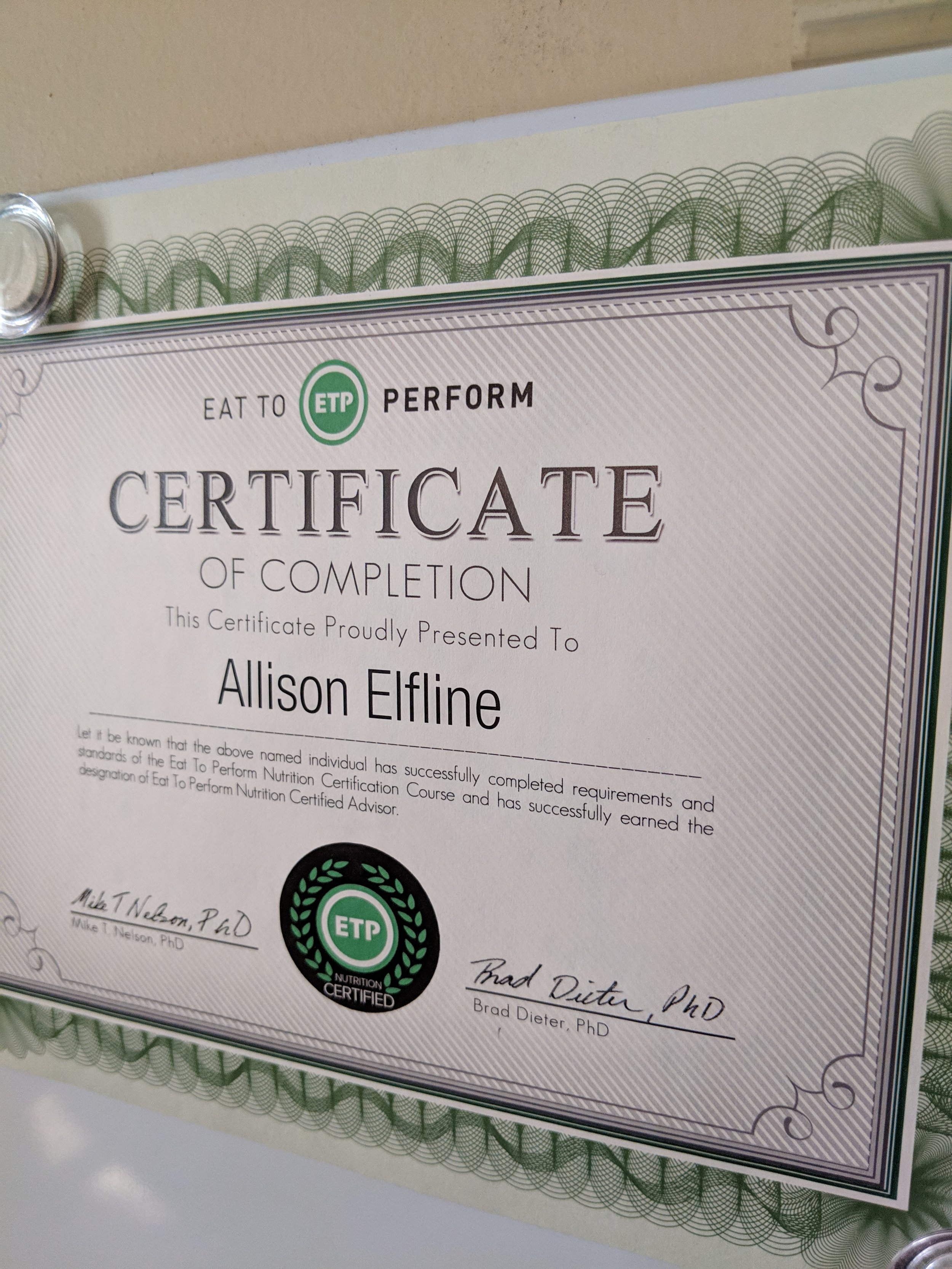 Ally is also proudly certified as a Nutrition Advisor through Eat To Perform, LLC.