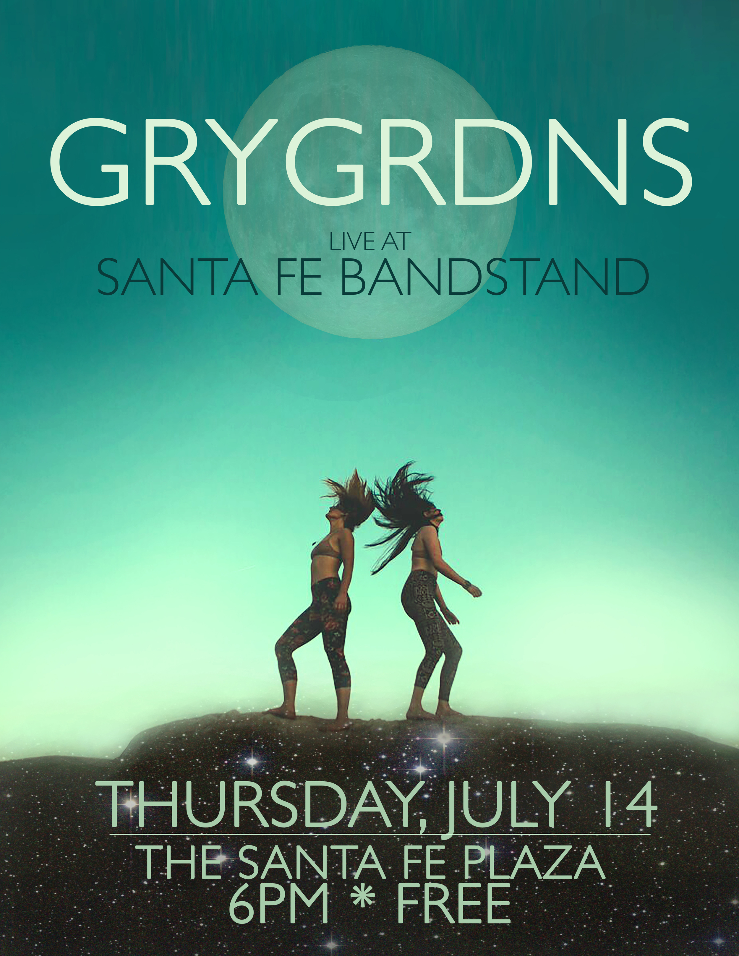 GRYGRDNS will perform at this year's Santa Fe Bandstand on Thursday, July 14th.  The annual summer long music festival begins on July 5th and runs through August 26 and brings a wide range of local, national and international acts to perform in the heart of downtown Santa Fe. GRYGRDNS plays at 6pm and all Bandstand shows are free and open to the public. For more information vistit:   http://santafebandstand.org/event/grydrdns/