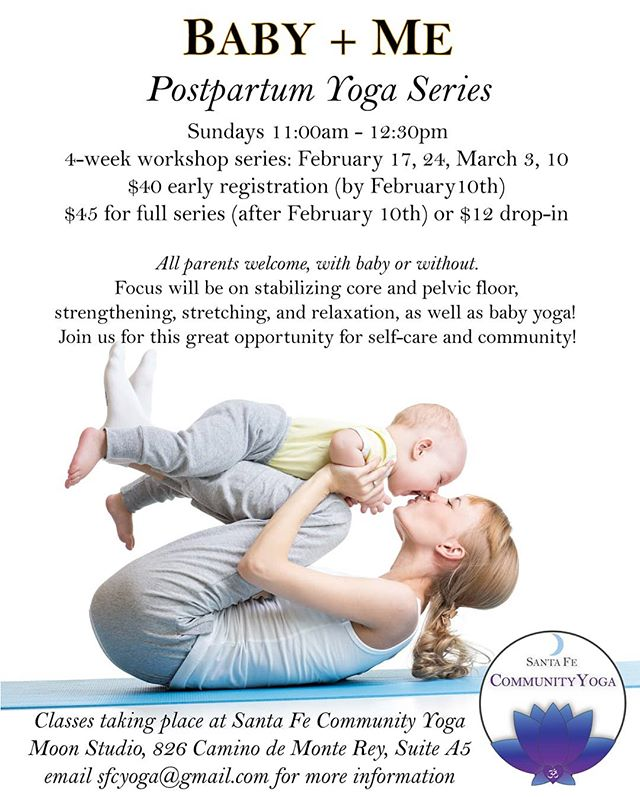 There are still two opportunities to check out the Baby + Me Yoga Series! Sundays, March 3 & 10, all parents are welcome to join Lisa, with or without the baby. 🙏 #babyandmeyoga