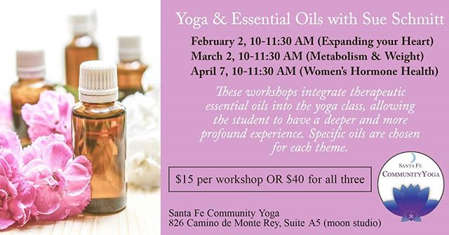 Last chance to check out Sue's Yoga & Essential Oils (April 7) and Yoga Therapeutics (April 13) workshops!! #yogatherapy #essentialoils