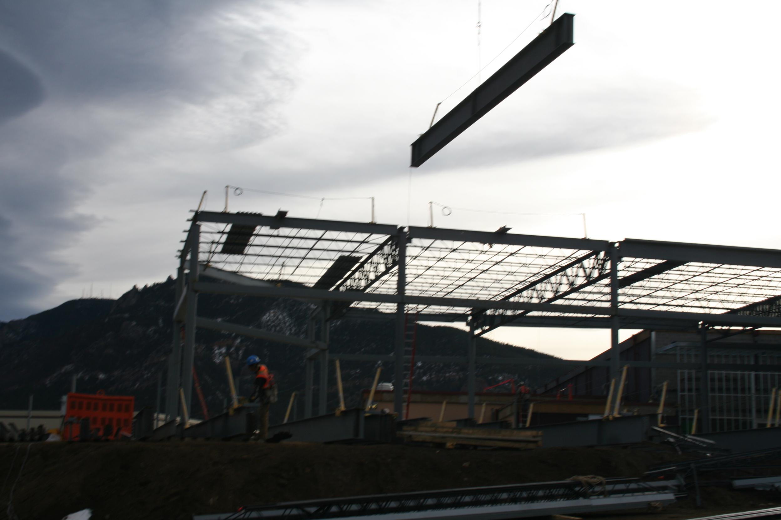 The crane at work.