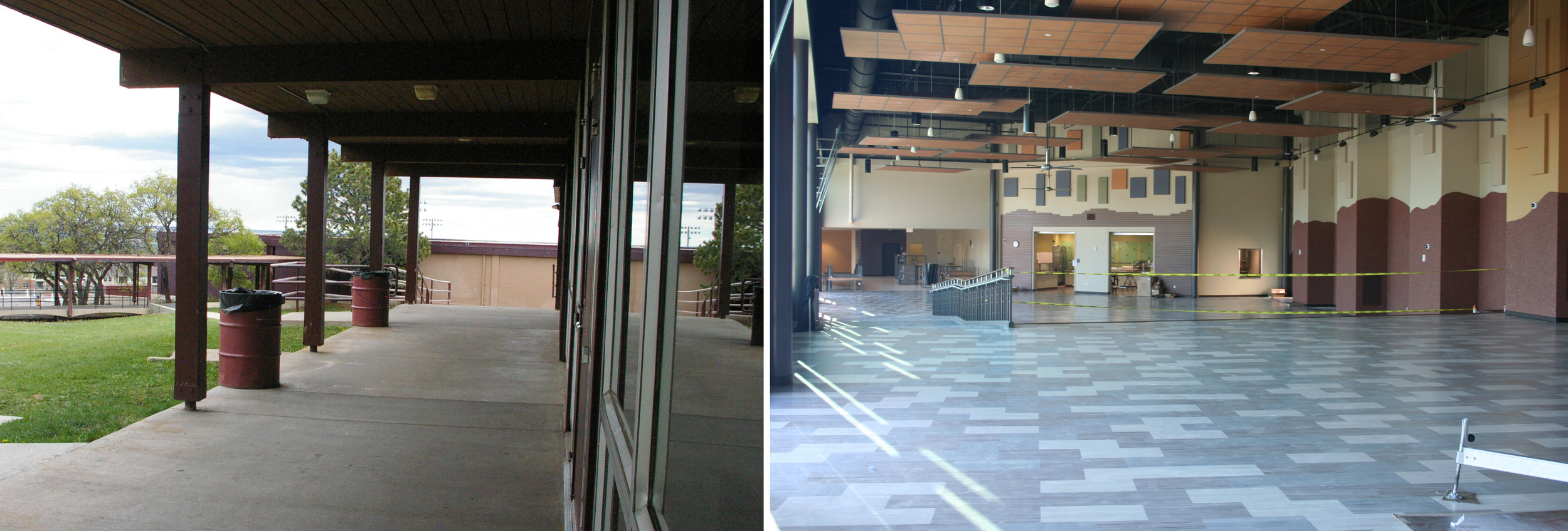 In both images, the wall to the far right is the wall leading into the auditorium. The space was extended out and enclosed to form the new student commons and auditorium main entrance. (After Image updated on 8-3-16)