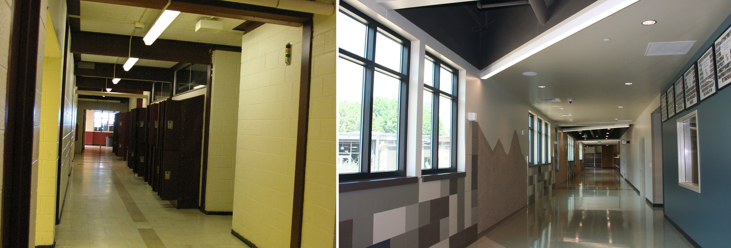 The difference in the corridors is drastic. No more fluorescent lights and narrow passageways! And unlike the original facility, all corridors will now have access to natural light and outdoor views. (After Image updated on 8-19-16)