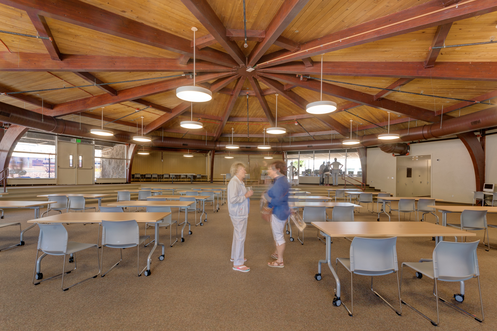 "Existing ""Kiva"" has been remodeled to create a central gathering space, lecture center and multi-purpose community room."