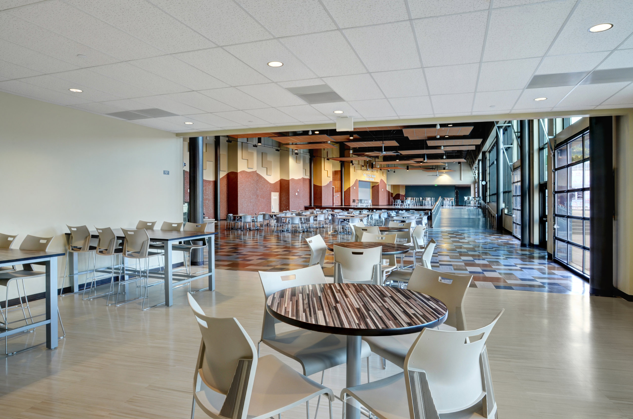 New student commons also features social study spaces on either end of the main area.
