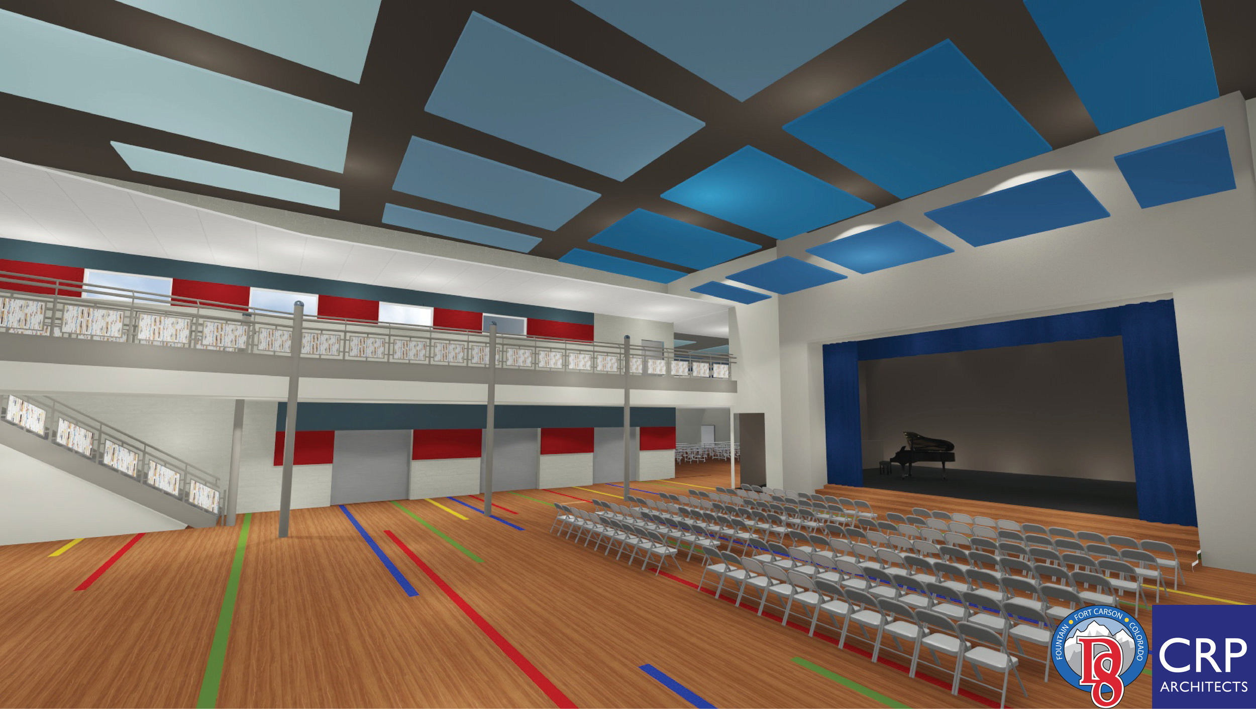 New student commons with performance stage.
