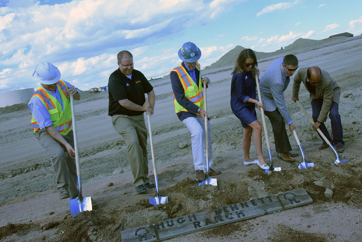 The design team (CRP Architects & GE Johnson) breaking ground alongside Brian Smith.