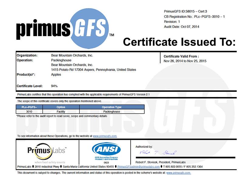 Bear Mountain Primus GFS Certified