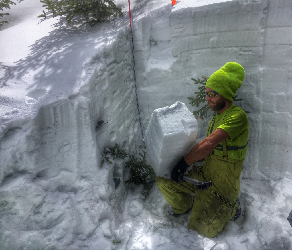 our lead instructor - Nate Goodman - in a snow pit during AIARE 2 course