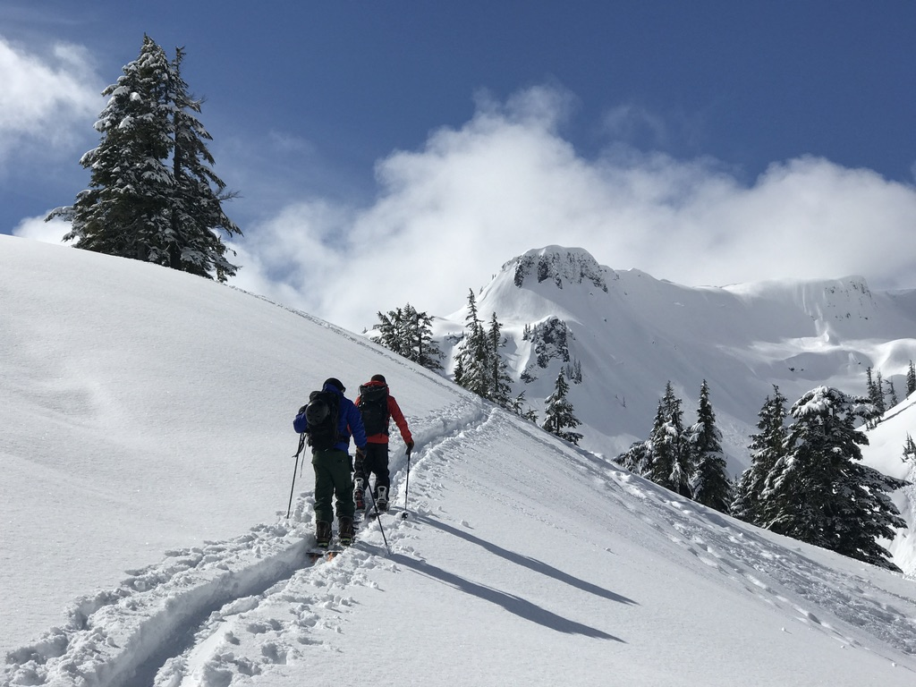 Touring up to a nice line at Mt Baker backcountry area during Baker Splitfest 2017